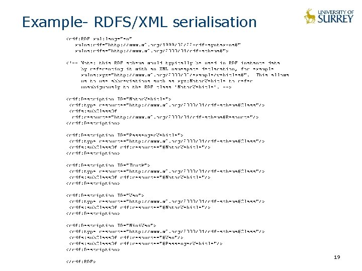 Example- RDFS/XML serialisation 19
