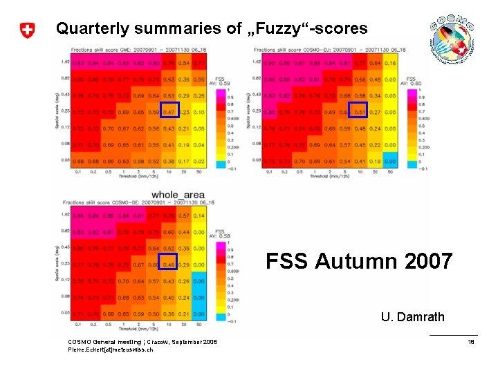 "Quarterly summaries of ""Fuzzy""-scores FSS Autumn 2007 U. Damrath COSMO General meeting ¦ Cracow,"
