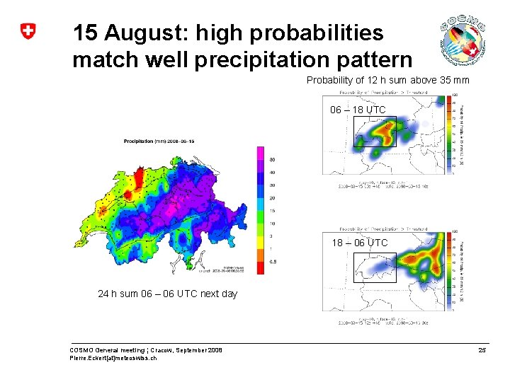 15 August: high probabilities match well precipitation pattern Probability of 12 h sum above