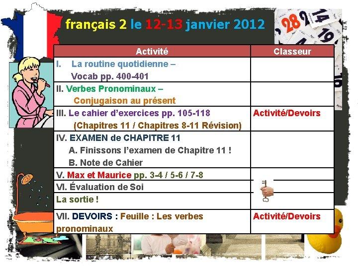 français 2 le 12 -13 janvier 2012 Activité I. La routine quotidienne – Vocab
