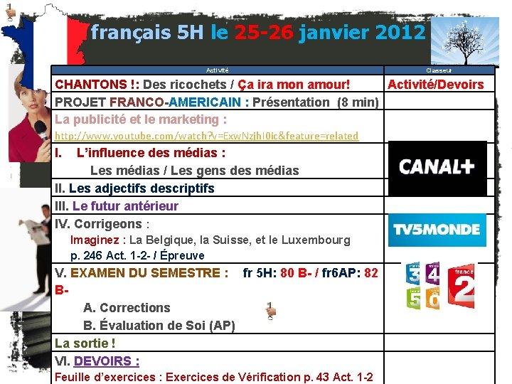 français 5 H le 25 -26 janvier 2012 Activité Classeur CHANTONS !: Des ricochets