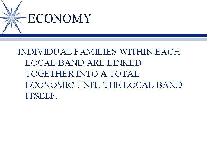 ECONOMY INDIVIDUAL FAMILIES WITHIN EACH LOCAL BAND ARE LINKED TOGETHER INTO A TOTAL ECONOMIC