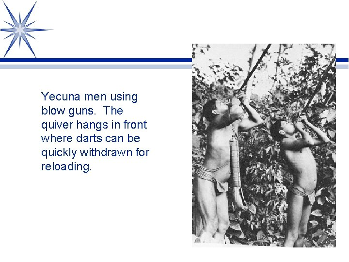 Yecuna men using blow guns. The quiver hangs in front where darts can be