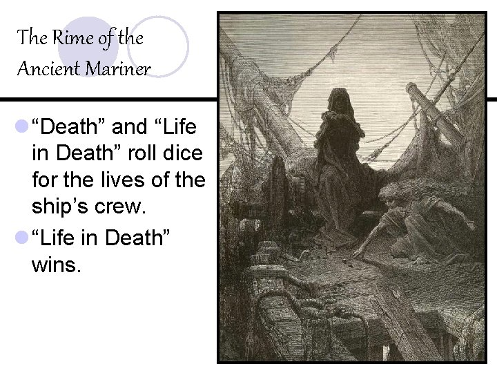 """The Rime of the Ancient Mariner l """"Death"""" and """"Life in Death"""" roll dice"""