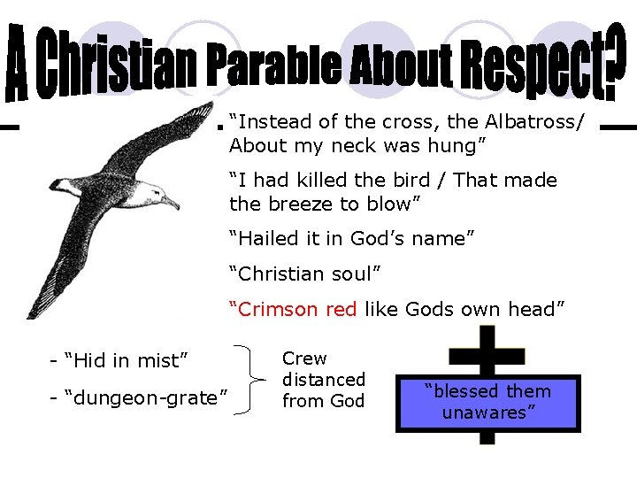 """""""Instead of the cross, the Albatross/ About my neck was hung"""" """"I had killed"""