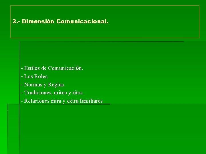 3. - Dimensión Comunicacional. - Estilos de Comunicación. - Los Roles. - Normas y