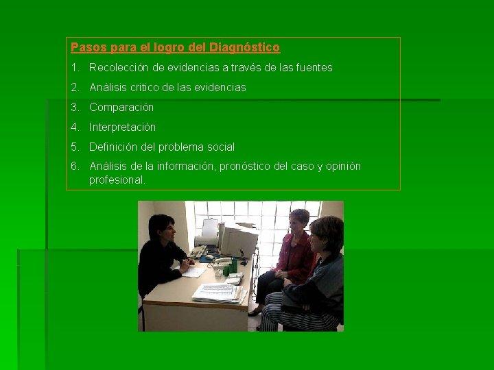 Pasos para el logro del Diagnóstico 1. Recolección de evidencias a través de las