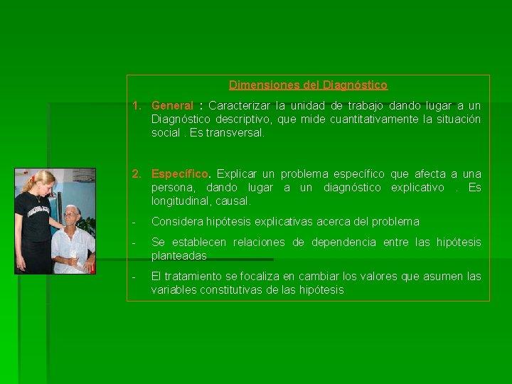 Dimensiones del Diagnóstico 1. General : Caracterizar la unidad de trabajo dando lugar a