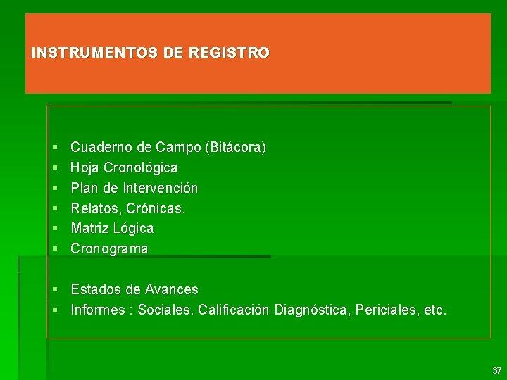 INSTRUMENTOS DE REGISTRO § § § Cuaderno de Campo (Bitácora) Hoja Cronológica Plan de