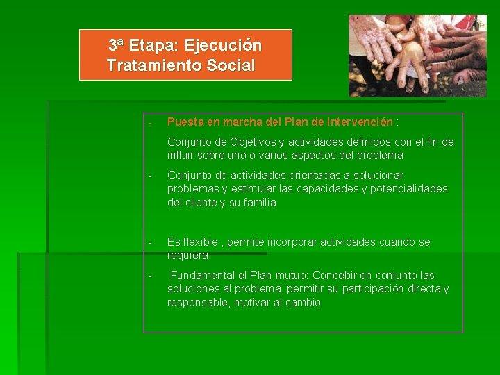 3ª Etapa: Ejecución Tratamiento Social - Puesta en marcha del Plan de Intervención :