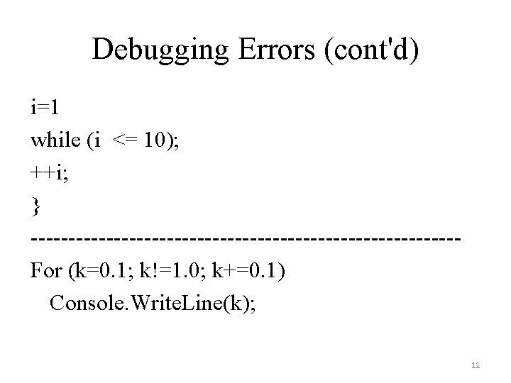 Debugging Errors (cont'd) i=1 while (i <= 10); ++i; } ----------------------------For (k=0. 1; k!=1.