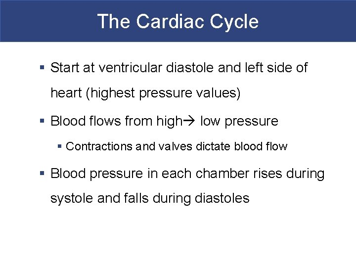 The Cardiac Cycle § Start at ventricular diastole and left side of heart (highest