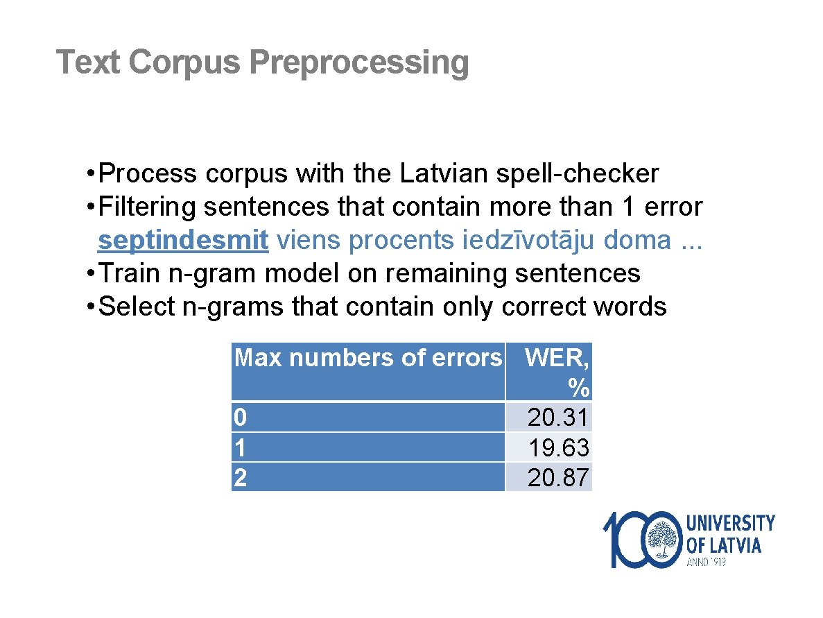 Text Corpus Preprocessing • Process corpus with the Latvian spell-checker • Filtering sentences that