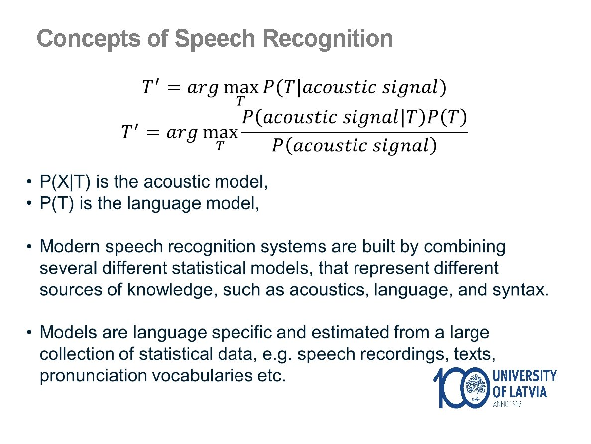Concepts of Speech Recognition