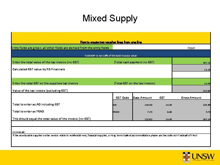 Mixed Supply How to create two voucher lines from one line Entry fields are
