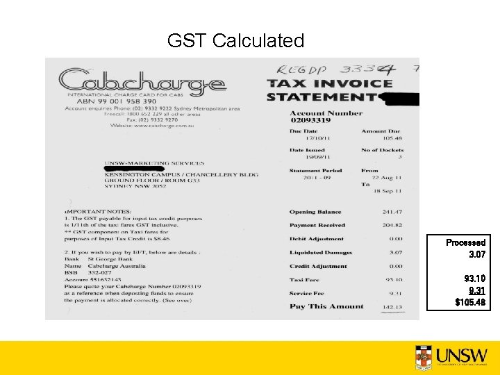 GST Calculated Processed 3. 07 93. 10 9. 31 $105. 48