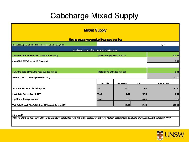Cabcharge Mixed Supply How to create two voucher lines from one line Entry fields