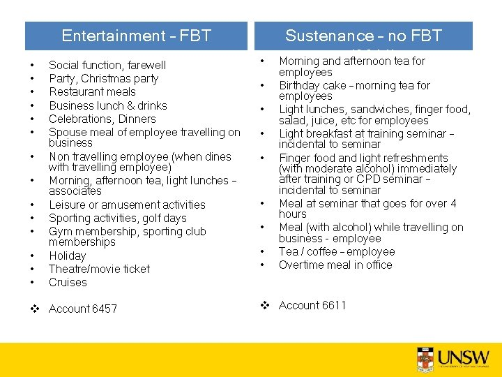 Entertainment – FBT • • • • Social function, farewell Party, Christmas party Restaurant