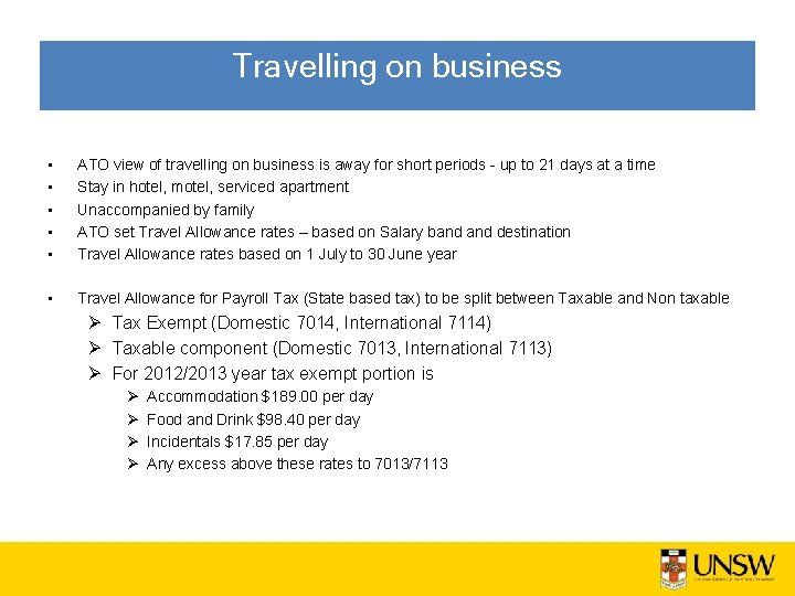 Travelling on business • • • ATO view of travelling on business is away