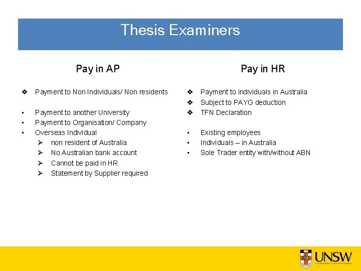 Thesis Examiners Pay in AP v Payment to Non Individuals/ Non residents • •