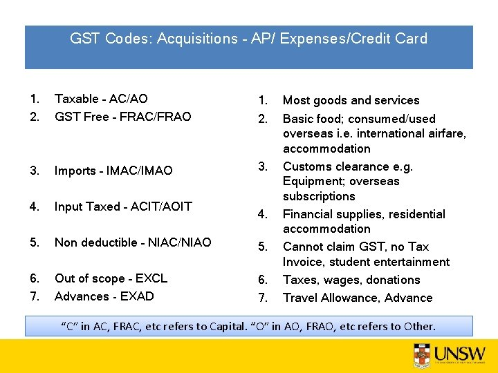 GST Codes: Acquisitions – AP/ Expenses/Credit Card 1. 2. Taxable – AC/AO GST Free
