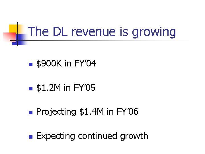 The DL revenue is growing n $900 K in FY' 04 n $1. 2