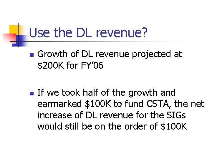 Use the DL revenue? n n Growth of DL revenue projected at $200 K