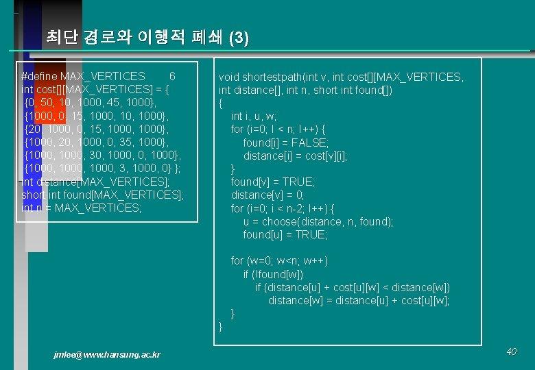 최단 경로와 이행적 폐쇄 (3) #define MAX_VERTICES 6 int cost[][MAX_VERTICES] = { {0, 50,