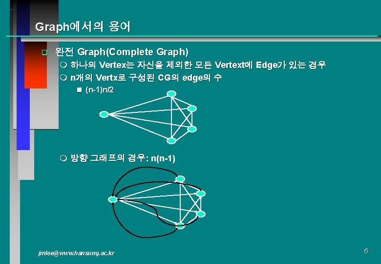 Graph에서의 용어 q 완전 Graph(Complete Graph) m 하나의 Vertex는 자신을 제외한 모든 Vertext에 Edge가