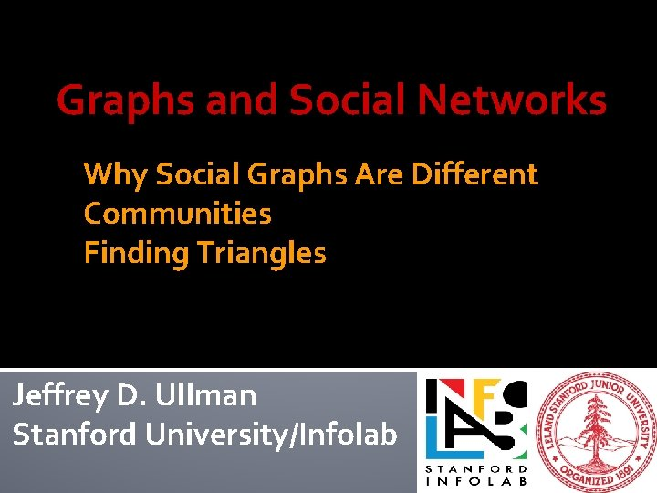 Graphs and Social Networks Why Social Graphs Are Different Communities Finding Triangles Jeffrey D.