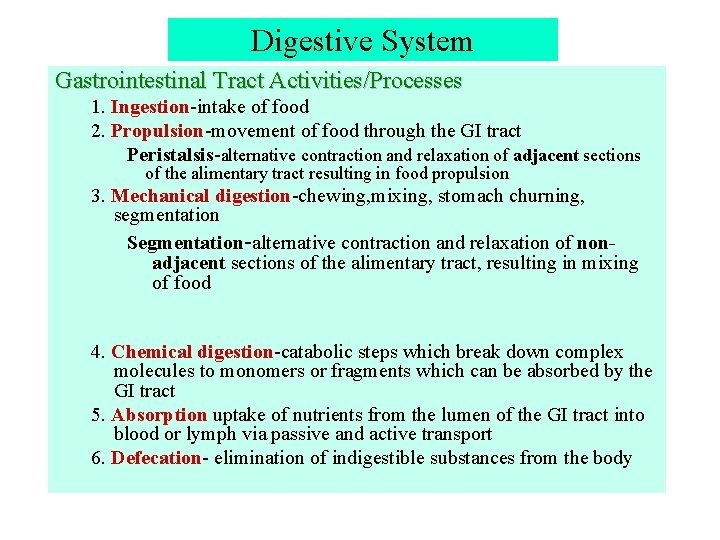 Digestive System Gastrointestinal Tract Activities/Processes 1. Ingestion-intake of food 2. Propulsion-movement of food through