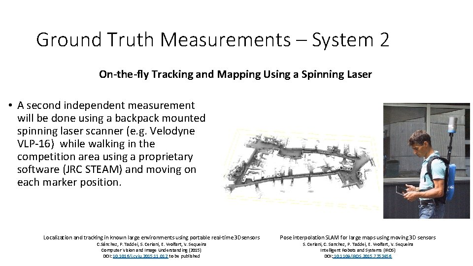 Ground Truth Measurements – System 2 On-the-fly Tracking and Mapping Using a Spinning Laser