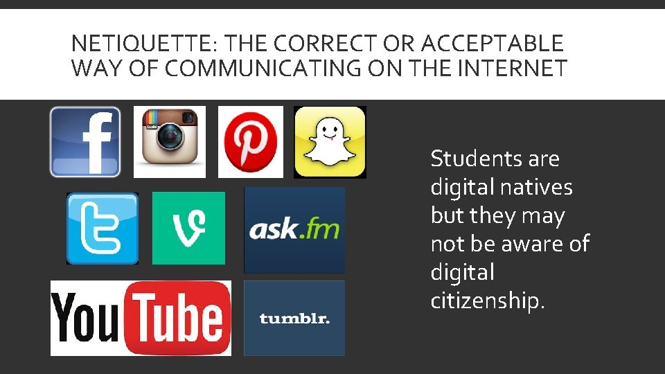 NETIQUETTE: THE CORRECT OR ACCEPTABLE WAY OF COMMUNICATING ON THE INTERNET Students are digital