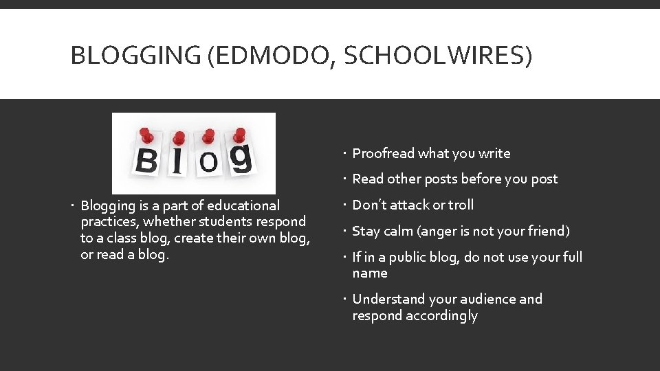 BLOGGING (EDMODO, SCHOOLWIRES) Proofread what you write Read other posts before you post Blogging