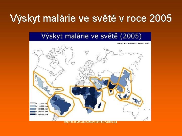 Výskyt malárie ve světě v roce 2005 http: //dc. czechnationalteam. cz/fotky/malarie. jpg
