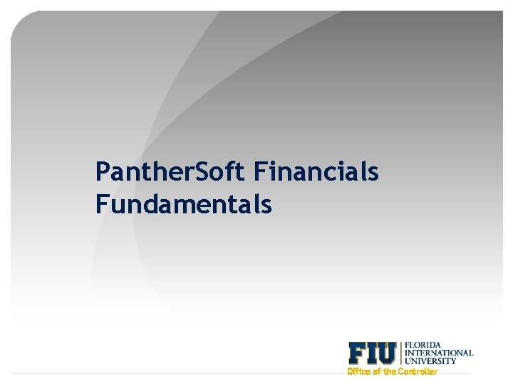 Panther. Soft Financials Fundamentals Office of the Controller