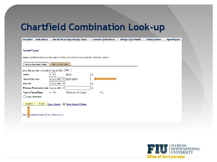 Chartfield Combination Look-up Office of the Controller