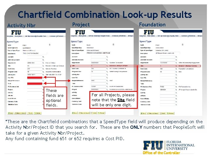 Chartfield Combination Look-up Results Project Activity Nbr These fields are optional fields. Foundation For