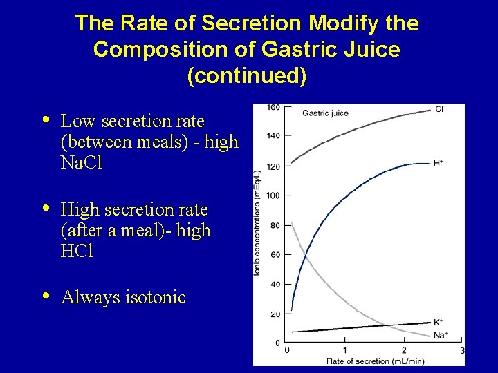 The Rate of Secretion Modify the Composition of Gastric Juice (continued) • Low secretion