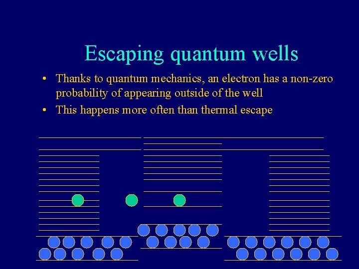 Escaping quantum wells • Thanks to quantum mechanics, an electron has a non-zero probability