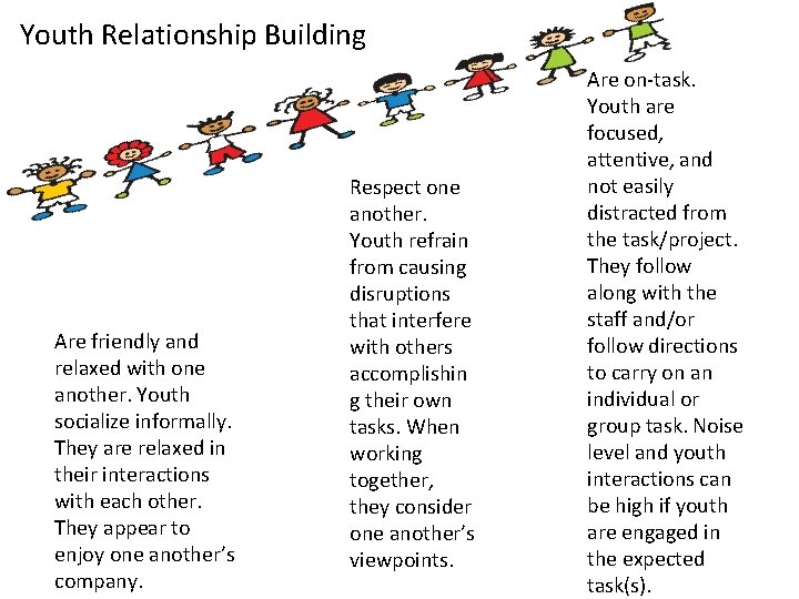Youth Relationship Building Are friendly and relaxed with one another. Youth socialize informally. They