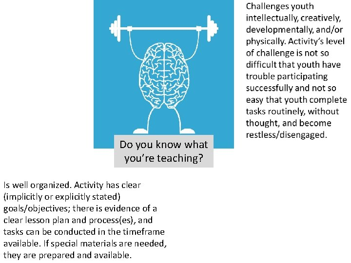 Do you know what you're teaching? Is well organized. Activity has clear (implicitly or