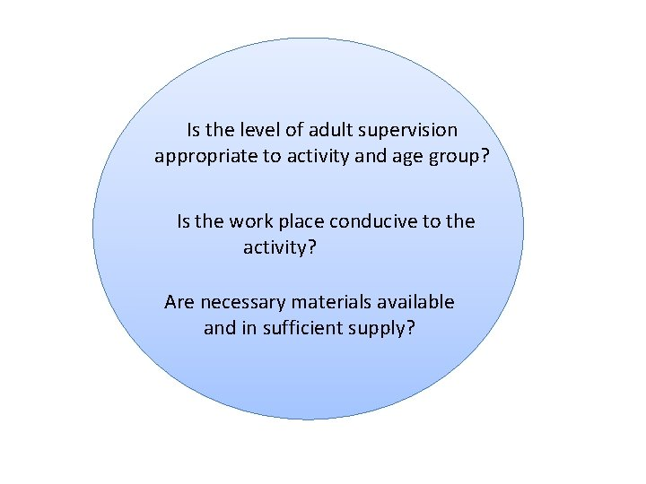 Is the level of adult supervision appropriate to activity and age group? Is the
