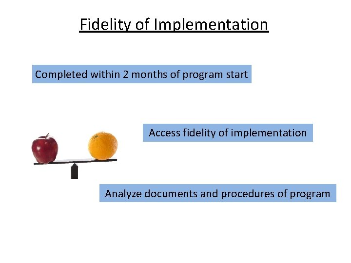 Fidelity of Implementation Completed within 2 months of program start Access fidelity of implementation