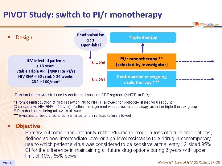 PIVOT Study: switch to PI/r monotherapy § Design HIV-infected patients > 18 years Stable