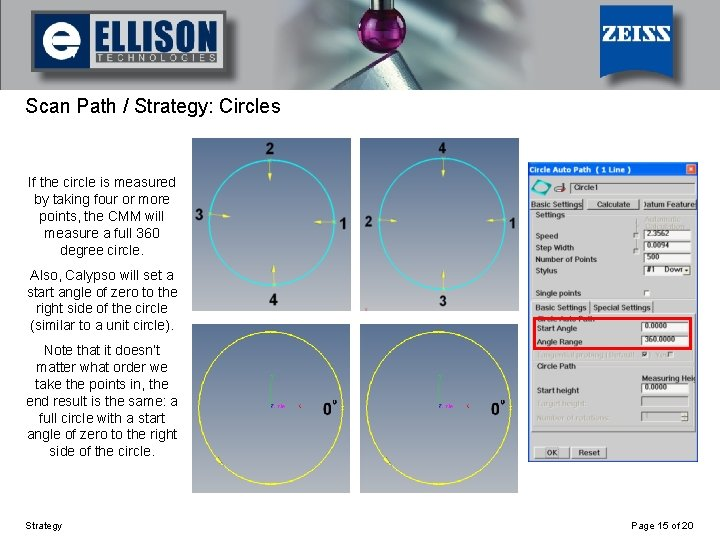 Using Strategy Scan Path / Strategy: Circles If the circle is measured by taking