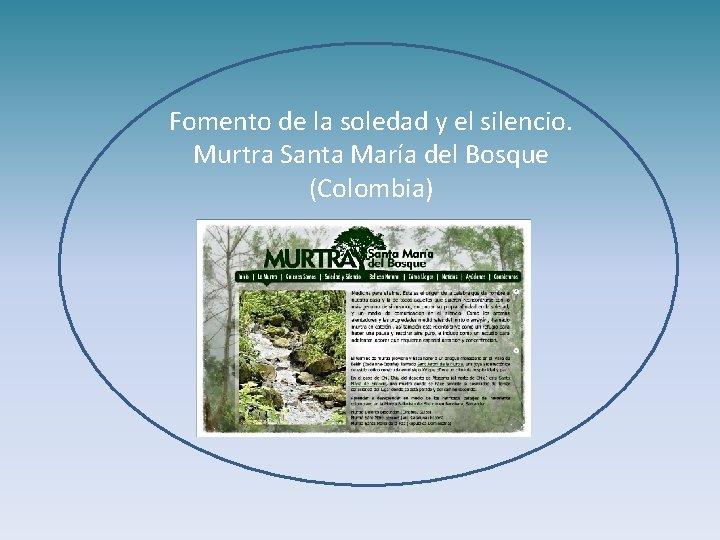 Fomento de la soledad y el silencio. Murtra Santa María del Bosque (Colombia)
