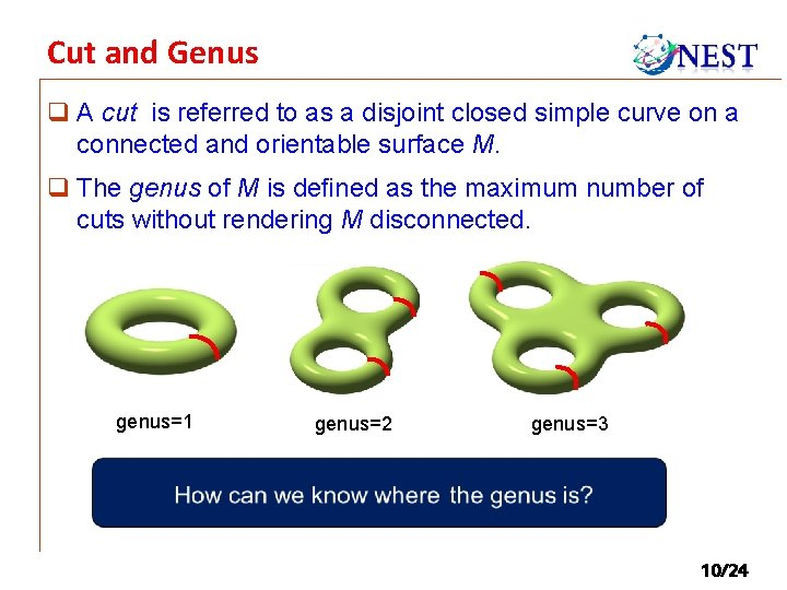 Cut and Genus q A cut is referred to as a disjoint closed simple
