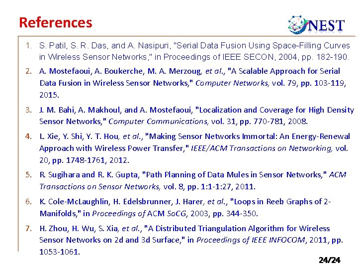 """References 1. S. Patil, S. R. Das, and A. Nasipuri, """"Serial Data Fusion Using"""
