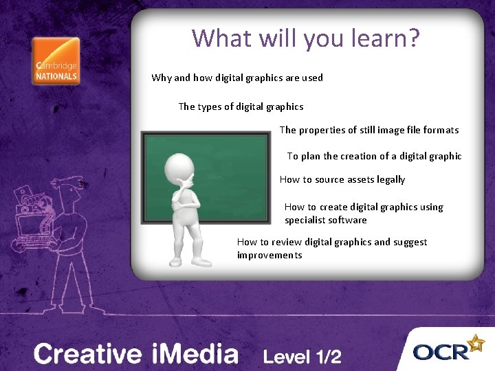 What will you learn? Why and how digital graphics are used The types of